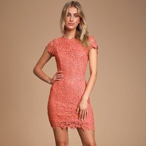 Coral Orange Lace Backless Bodycon Dress